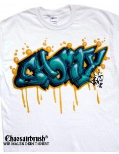 Graffiti T-Shirt mit Namen Hip-Hop Shorty Green T-Shirt mit Namen - Airbrush T-Shirt