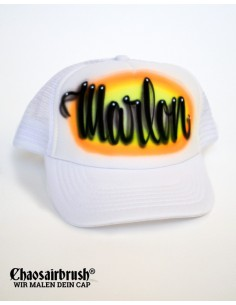 Baseball Cap mit Namen Kappe mit Namen Hip Hop Basecap Weiß Orange Gelb